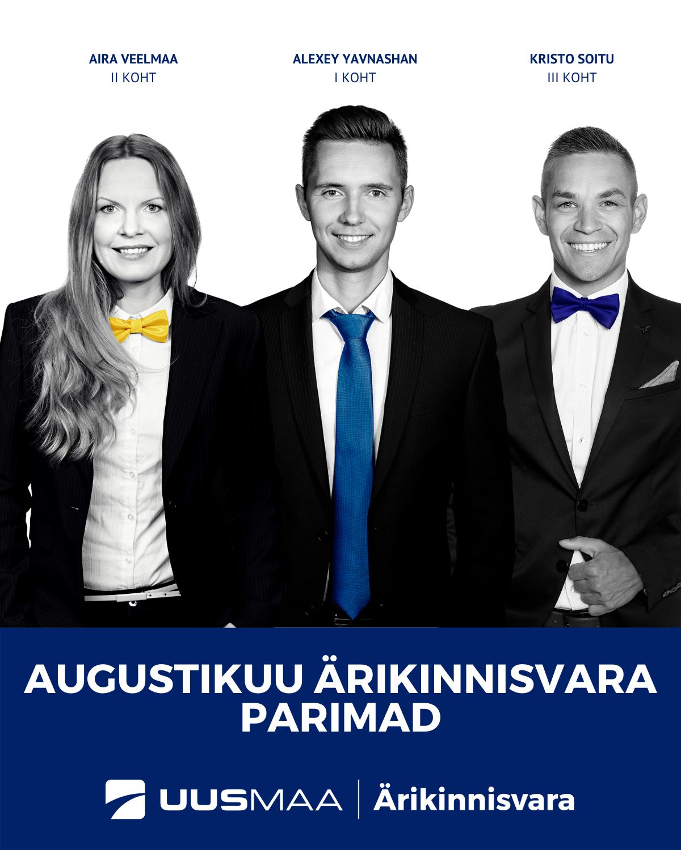 Augustikuu ärikinnisvara TOP3 kinnisvaramaaklerit